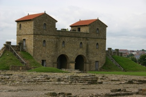 The reconstructed gatehouse of Arbeia Roman fort in South Shields