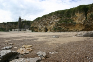 A shot of Marden beach showing the lift that led down into the pub (which was closed at the time).