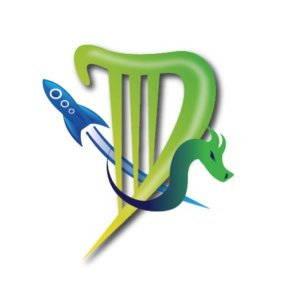 Dublin Worldcon Logo showing a stylised harp shaped D with a dragon and a rocket.
