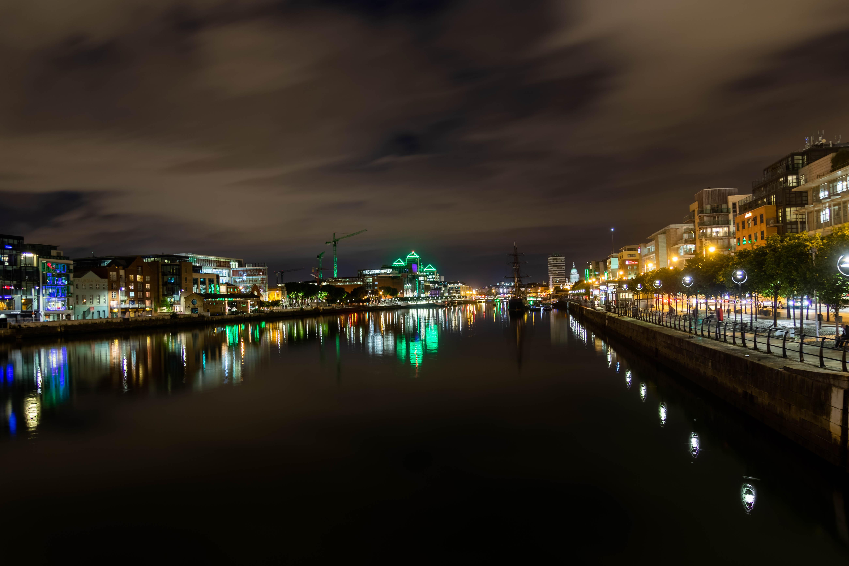 The river Liffey, Dublin, at night.